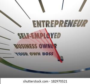 Entrepreneur Word Speedometer Self Employed Business Owner