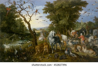 The Entry of the Animals into Noah's Ark, by Jan Brueghel the Elder, 1613, Flemish painting, oil on panel. Animals fill the earth and sky as they are shepherded by Noah toward the ark in the far dist