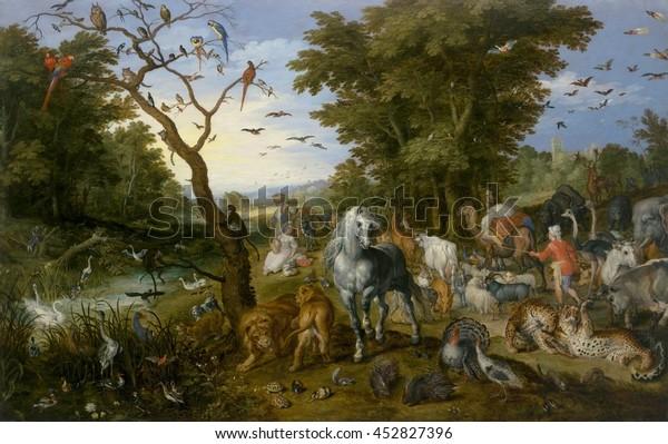 Der Eintrag der Tiere in Noah's Ark, von Jan Brueghel der Älteste, 1613, flämische Malerei, Öl auf Tafel. Die Tiere füllen Erde und Himmel, während sie von Noah in Richtung der Arche in der äußersten Tiefe gehirtet werden