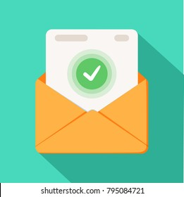Envelope with document and round green check mark icon. Successful e-mail delivery, email delivery confirmation, successful verification concepts. Modern flat design icon