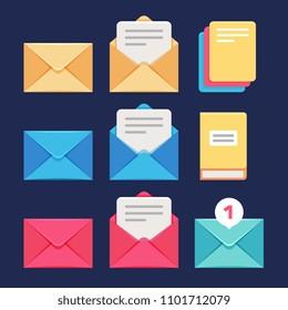 Envelope, email and letter icons. Postal correspondence and mms symbols. Letter and correspondence, envelope and postal spam message illustration