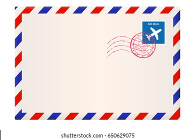 Envelope. International air mail with red and blue frame. 3d illustration isolated on white background. Raster version.