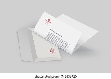 Envelope and Letterhead Mock Up with logo. Brand Identity Mockup. Blank Presentation Design Template, Isolated on grey background.