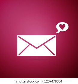 Envelope with Valentine heart icon isolated on purple background. Message love. Letter love and romance. Flat design