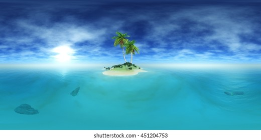 Environment map. HDRI map. Equirectangular projection. Spherical panorama. 3D rendering.  Tropical island.