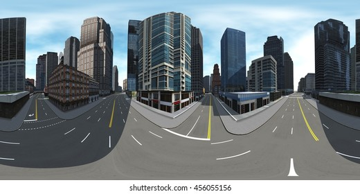 Environment map. HDRI map. Equirectangular projection. Spherical panorama. Cityscape. 3D rendering