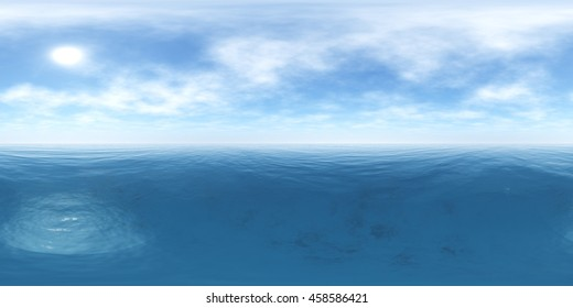 Environment map. HDRI map. Equirectangular projection. Spherical panorama. seascape. 3D rendering.