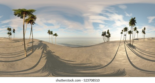 Environment map. HDRI map. Equirectangular projection. Spherical panorama. an oasis in the desert. 3d rendering