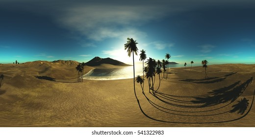 Environment map. HDRI map. Equirectangular projection. Spherical panorama. an oasis in the desert  3d rendering