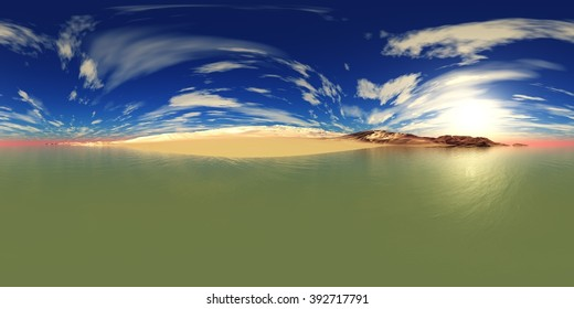 environment map ,HDRI High resolution map. Round panorama, spherical panorama, equidistant projection, sea sunset over the beach
