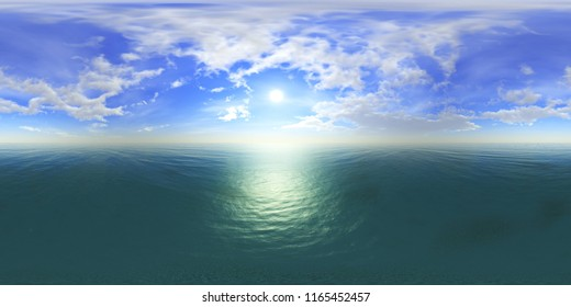 Environment map, Round panorama, spherical panorama, equidistant projection, sea sunset 3D rendering created using HDRI technology