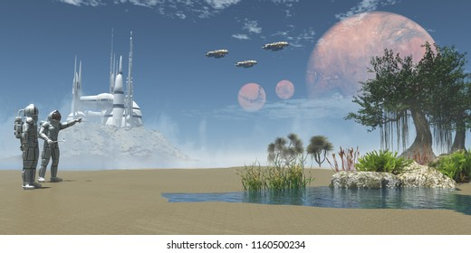 Environment on Exoplanet 3D illustration - A man in a space suit points to three spaceships taking off to his companion on an Exoplanet.