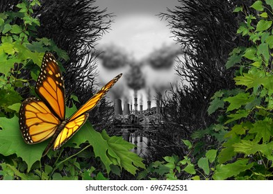 Environmental destruction and ecological natural habitat contamination as a butterfly looking at a polluted industrial area with coal chimneys and nuclear plants with 3D illustration elements.