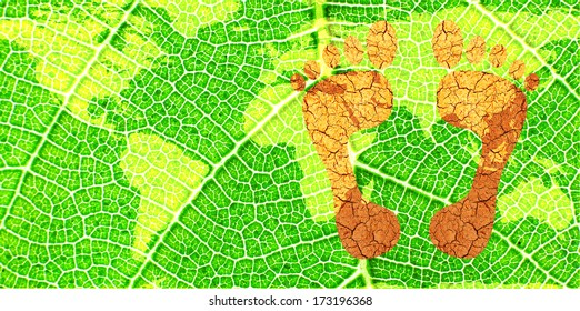 Environmental Footprints on a Map of the World on a Green Leaf- original image of Earth from NASA