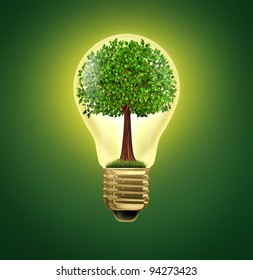 Environmental Ideas and environment green energy ecological symbol of conservation and alternative electrical power to get off the grid using battery or hybrid power with a tree in a light bulb.