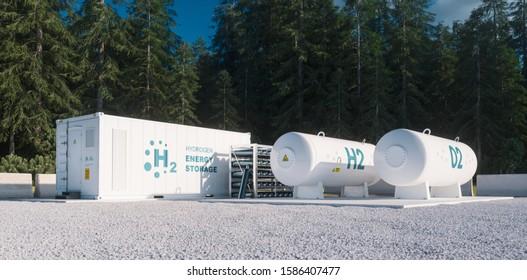 Umweltfreundliche Lösung der Speicherung erneuerbarer Energien - Wasserstoffgas zu sauberem Elektrizitätswerk in der Waldumwelt. 3D-Darstellung.