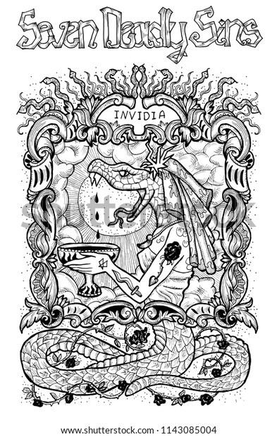 Envy Latin Word Invidia Means Jealousy Stock Illustration 1143085004