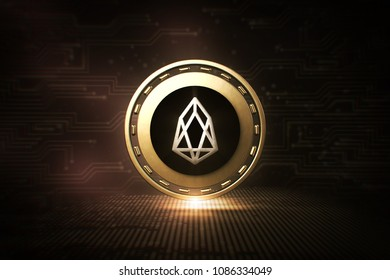 EOS - EOS - 3D Cryptocurrency Coin  - Front View