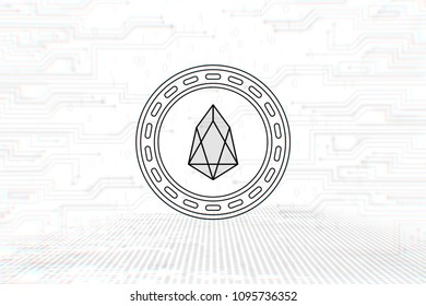 EOS - EOS - 3D Cryptocurrency Outline Coin