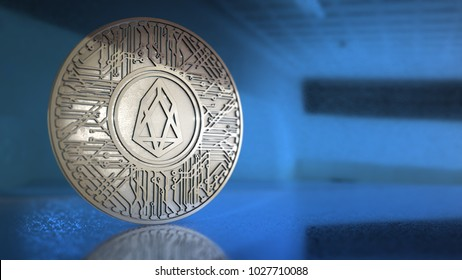 EOS coin (EOS) blockchain cryptocurrency altcoin 3D Render EOS.IO is a software blockchain architecture designed to enable vertical and horizontal scaling of decentralized applications