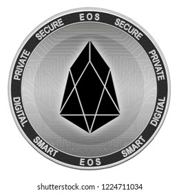 EOS coin isolated on white background; eos cryptocurrency