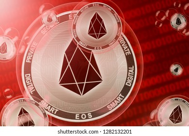 EOS crash; EOS coins in a bubbles on the binary code background. Сlose-up. 3d illustration