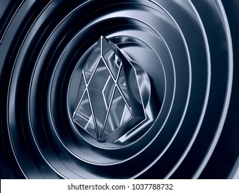 EOS crypto currency symbol in the center of the cool circles. 3D illustration of EOS coin logo with metallic reflections on the cool rings background.