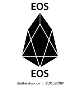 EOS cryptocurrency blockchain icon. Virtual electronic, internet money or cryptocoin symbol, logo