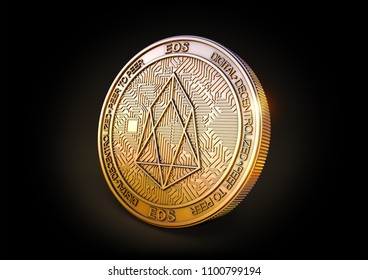 Eos EOS - Cryptocurrency Coin on Black Background. 3D rendering.