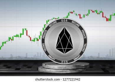 EOS; cryptocurrency coins - EOS on the background of the chart. 3d illustration