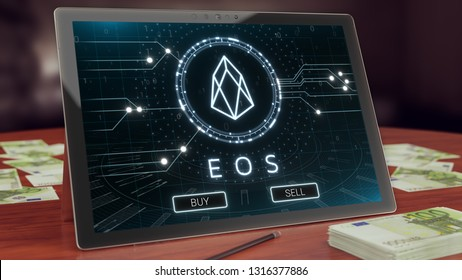 Eos cryptocurrency logo on the pc tablet display. Neon bright blockchain symbol 3D illustration