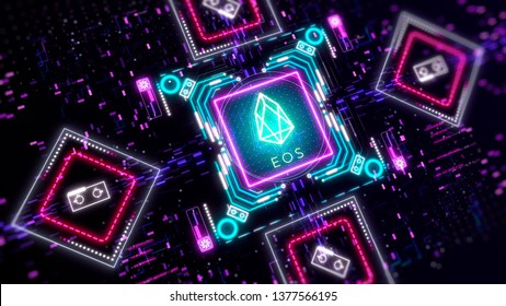 EOS cryptocurrency token mining concept. Finance and business theme. Glow neon lights, blur, bokeh.
