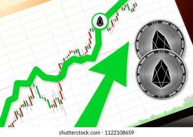 EOS index rating go up on exchange market; cryptocurrency chart on tablet pc (smartphone) with arrow pointing up and coins eos. Place for text (prices); top view