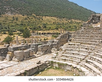 Ephesus, Turkey. Ruined theatre of a famous ancient greek city. Historical and cultural monument. Digital stylization of a colored contour drawing