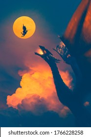 Epic battle between warrior angel and a big dragon in a sunset red sky - concept art - 3D rendering