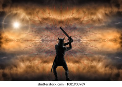 Epic image of the enraged Old Norse God Odin, who swings his sword, graphic patterns around his head, thunderclouds and sun in the background, Norsemen myths and legends, Vikings theme