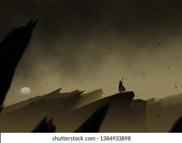 epic journey, traveler in surreal landscape with ash falling from the dark sky, illustration with 3d elements