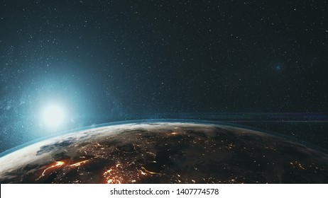 Epic Rotate Earth Close Up Surface Star Background. Sun Beam Glow Celestial Outer Space Deep Universe Exploration Concept 3D