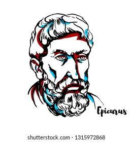 Epicurus engraved portrait with ink contours. Ancient Greek philosopher who founded a highly influential school of philosophy now called Epicureanism.