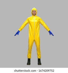 Epidemic protective suit. Special protective suit when working with infected patients. Front view. 3D render Illustration.