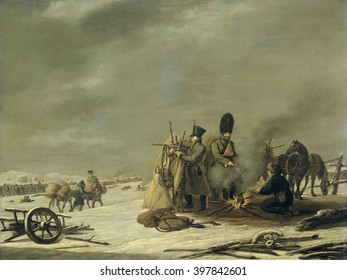 Episode from Napoleon's Retreat from Russia, by Johannes Hari, c. 1812-20, Dutch oil painting. Bivouac at Molodetschno during the Night of the 3rd to 4th of December 1812, with soldier's building a sh