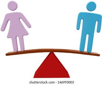 Equal man and woman sex equality gender balance