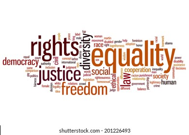 Equality concept word cloud background