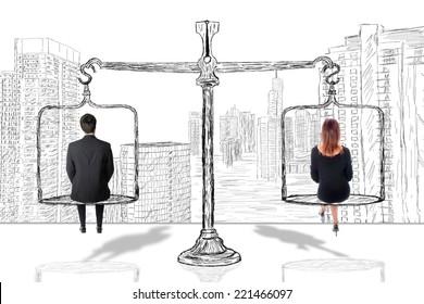 Equality woman man concept