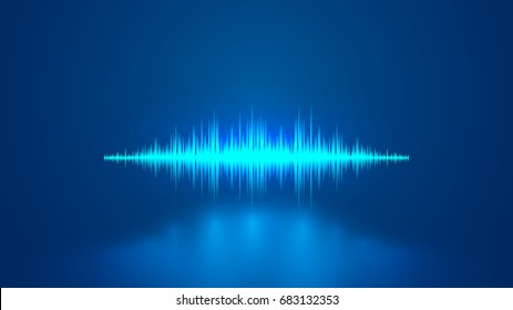 Equalizer blue sound wave. Voice recognition..
