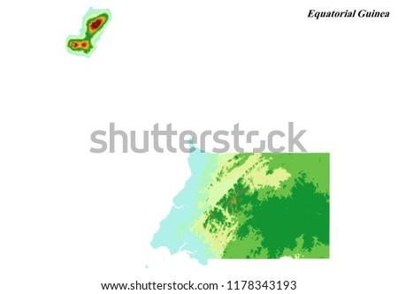 Equatorial Guinea Elevation Map 3 D Rendering Stock Illustration ...
