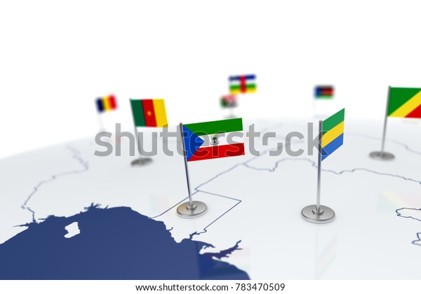 Equatorial Guinea flag. Country flag with chrome flagpole on the world map with neighbors countries borders. 3d illustration rendering flag
