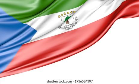 Equatorial guinea flag isolated on white background, 3D illustration