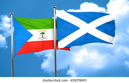 Equatorial guinea flag with Scotland flag, 3D rendering
