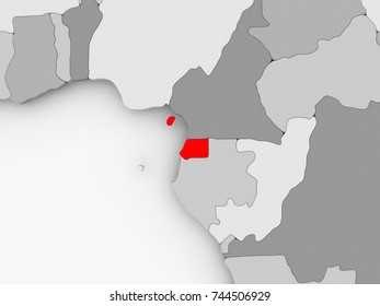 Equatorial Guinea in red on grey political map. 3D illustration.